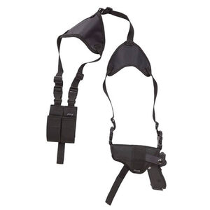 "Bulldog Cases Deluxe Horizontal Shoulder Holster Medium Frame Revolvers with 3""-4"" Barrels Ambidextrous with Double Speedloader Pouch Nylon Black WSHD12"