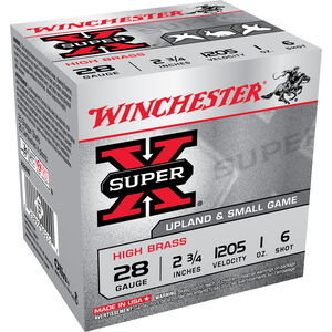 "Winchester Super-X Game Load 28 Gauge Ammunition 250 Rounds 2.75"" #6 Lead Shot 1 Ounce X28H6"