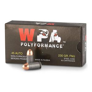 Wolf Military Classic .45 ACP Ammunition 230 Grain Bi-Metal FMJ Steel Case 850 fps