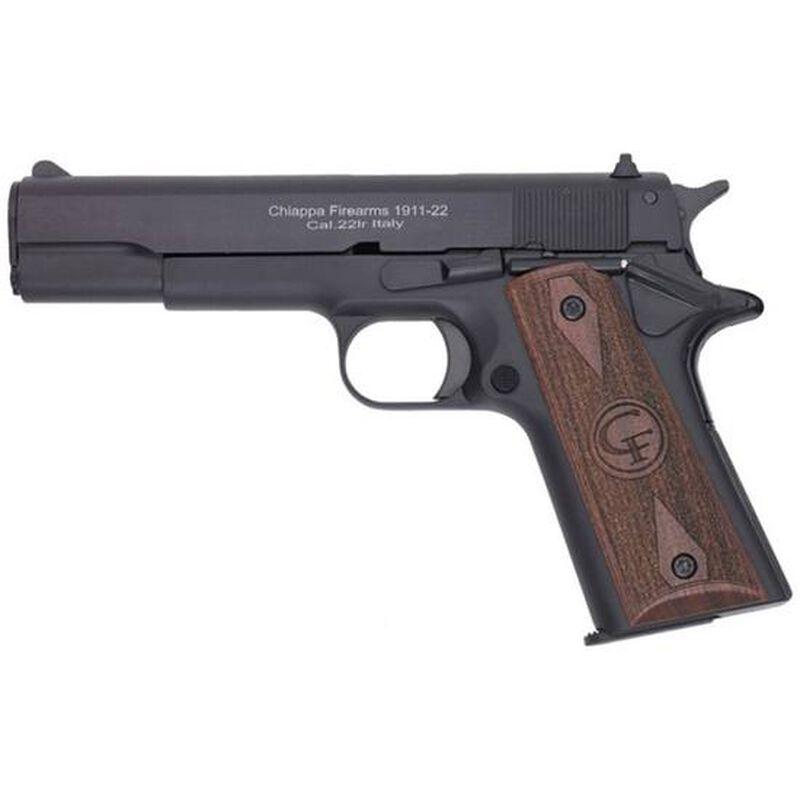 "Chiappa Firearms 1911-22 Semi Automatic Rimfire Pistol .22 LR 5"" Barrel 10 Rounds Walnut Grips Black"