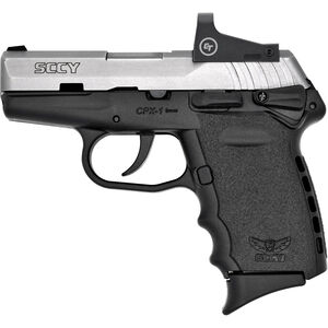 """SCCY CPX-1RD 9mm Luger Subcompact Semi Auto Pistol 3.1"""" Barrel 10 Rounds with CT Red Dot Ambi Safety Polymer Frame Black/Stainless Finish"""