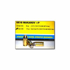 Buffalo Bore 9x18 Makarov +P Ammunition 20 Rounds HC-FN 115 Grain 34B/20