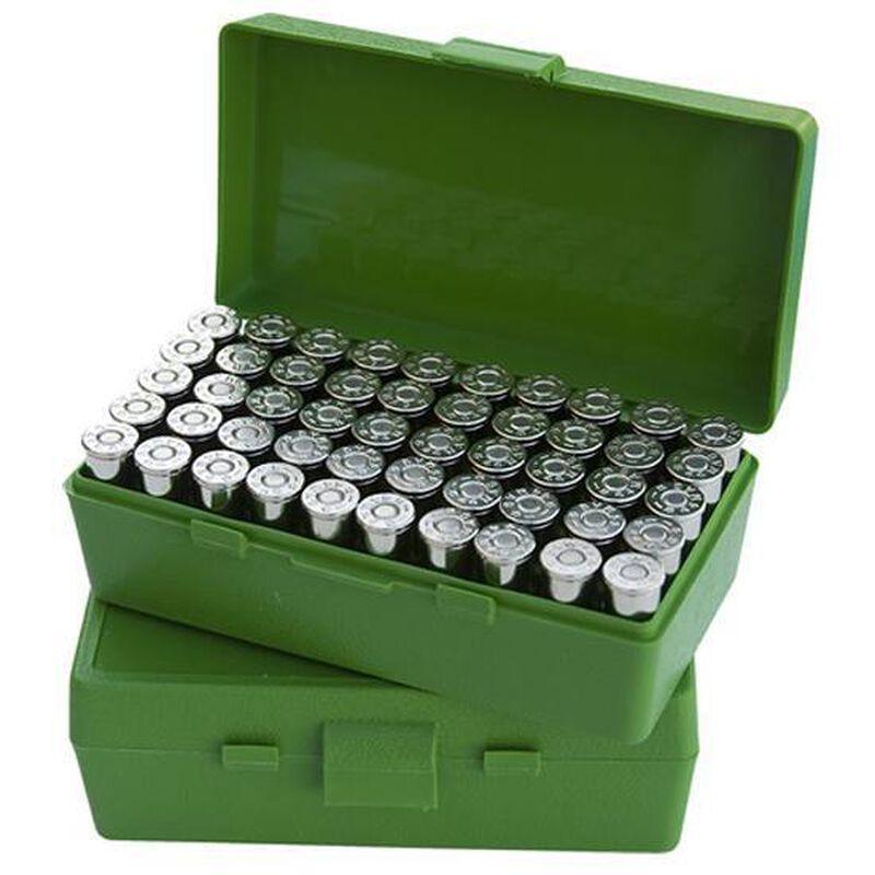 MTM Case-Gard P-50 Original Series Flip Top Handgun Ammo Box .44 Special/.44 Magnum Holds 50 Rounds Green P50-44-10