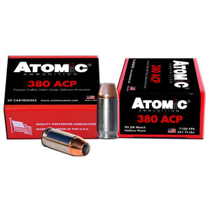 Atomic .380 ACP Ammunition 90 Grain Match Hollow Point 1100fps