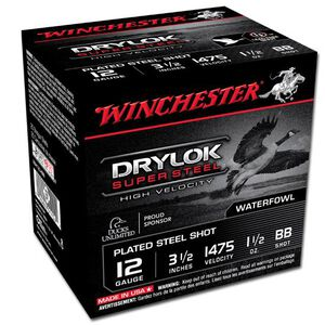 "Winchester Drylok 12 Ga 3.5"" BB Steel 1.5oz 25 Rounds"