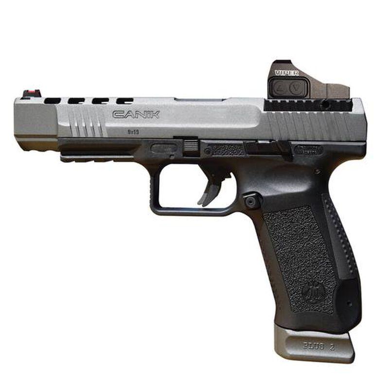 "Century Arms Canik TP9SFX Semi Auto Pistol 9mm Luger 5.2"" Barrel 20 Rounds Fiber Optic Front Sight Vortex Viper Red Dot Interchangeable Grips Black Polymer Frame Tungsten Gray Slide Finish"