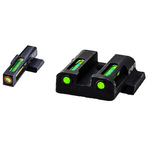HiViz Litewave H3 Tritium/Litepipe fits M&P Shield Models Green Front Sight with Orange Front Ring/Green Rear Sight Steel Housing Matte Black