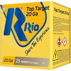 "RIO Ammunition Top Target 20 Gauge Ammunition 2-3/4"" Shell #7.5 Lead Shot 7/8oz 1250fps"