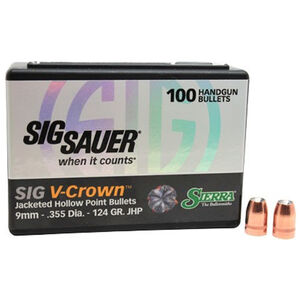 "Sierra V-Crown Bullet 9mm Caliber .355"" Diameter 124 Grain Jacketed Hollow Point Projectile 100 Count"
