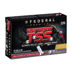 "Federal Heavyweight TSS 12 Gauge Ammunition 5 Rounds 3"" #7 Heavyweight TSS Payload 1-3/4 Ounce 1200fps"