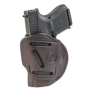 1791 Gunleather 4 Way WH-3 Multi-Fit IWB/OWB Concealment Holster for 9mm Luger/.40 S&W Sub Compact Semi Auto Models Right Hand Draw Leather Signature Brown