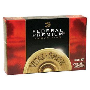 """Federal Vital-Shok 12 Gauge Ammunition 5 Rounds 2-3/4"""" 00 Buck Copper Plated 9 Pellets 1325fps"""