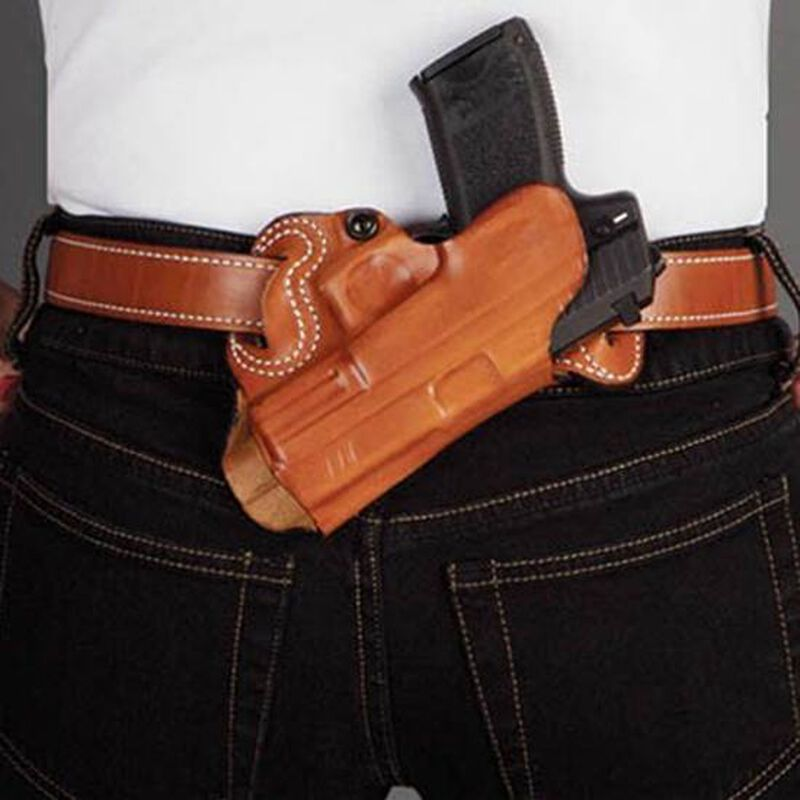 DeSantis Small of Back GLOCK 20/21/37/39 and Similar OWB Belt Holster Right Hand Leather Tan