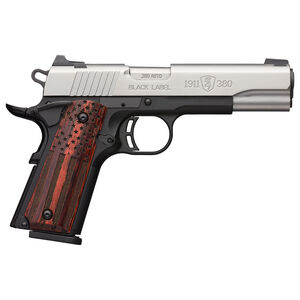 """Browning Black Label Pro American Flag 1911-380 .380 ACP Semi-Auto Pistol 3-5/8"""" Barrel 8 Rounds White Dot Sights Wood Grips Silver/Black Finish"""