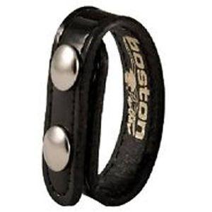 "Boston Leather Belt Keeper .75"" Leather Clarino Black Brass Snaps 5456-2-B"