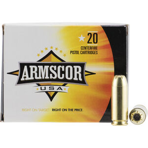 Armscor USA 10mm Auto Ammunition 20 Rounds 180 Grain JHP 1008fps