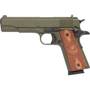 "Iver Johnson 1911A1 .45 ACP Semi Auto Pistol 8 Rounds 5"" Barrel Wood Grips Cerakote OD Green Finish"