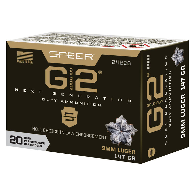 Speer Gold Dot G2 Personal Protection 9mm Luger Ammunition 20 Rounds 147 Grain GD2HP 970 fps