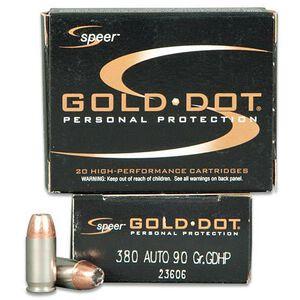 Speer .380 ACP Ammunition 20 Rounds Gold Dot HP 90 Grains