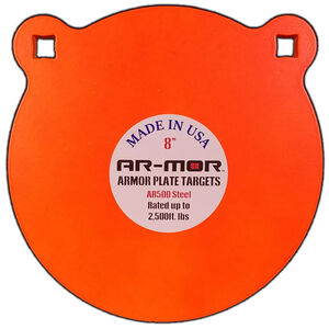 """AR-Mor Armor Plate Targets 8"""" AR500 Gong Steel Shooting Target 1/2"""" Thick Pre-Painted/Ready to Use Orange Finish"""