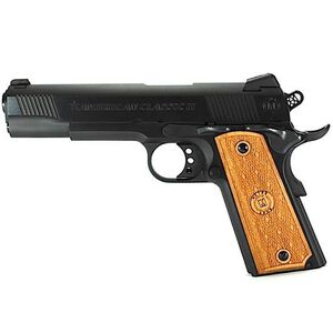 """American Classic II 1911 Government Semi Automatic Pistol 9mm Luger 5""""Barrel 9 Round Capacity Hardwood Grips Blued Finish AC9G2B"""