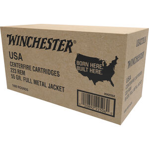 Winchester USA .223 Remington Ammunition 55 Grain Full Metal Jacket 3240 fps 1000 Round Case W223