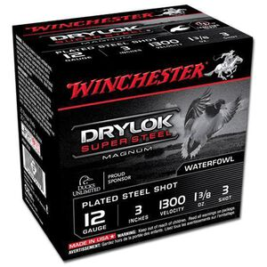 """Winchester Drylok 12 Ga 3"""" #3 Plated 1.375oz 25 Rounds"""