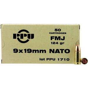 Prvi Partizan PPU Mil-Spec 9x19mm NATO Ammunition 50 Rounds 124 Grain FMJ 1263fps
