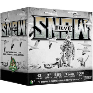 "Hevi-Shot Hevi-Snow 12 Gauge Ammunition 25 Rounds 3"" Shell BBB Steel Shot 1-1/4oz 1500fps"