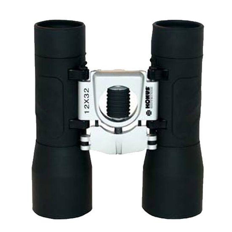 Konus Basic 12x32 Binoculars Roof Prism Rubber Coated Body Ruby Coated Optic Central Focus Black 2009