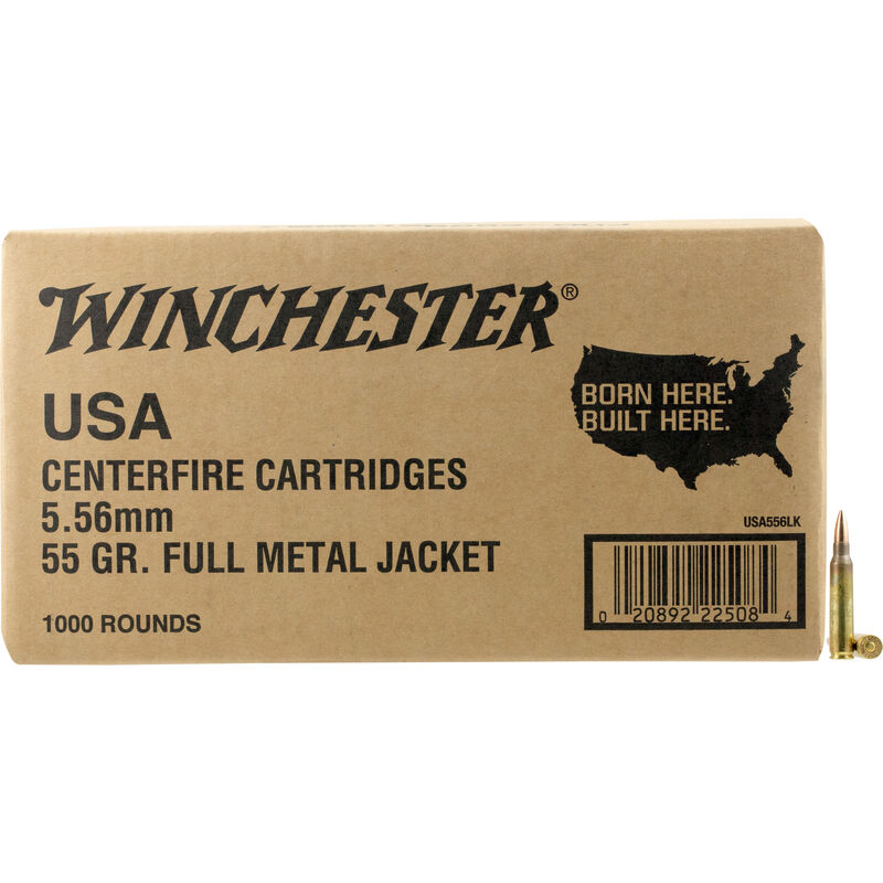 Winchester Lake City 5.56 NATO Ammunition 1000 Rounds FMJ 55 Grains
