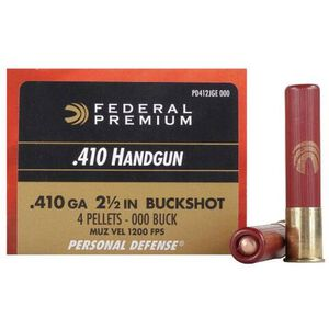 "Federal Personal Defense .410 Bore Ammunition 200 Rounds 2.5"" 000 Buck 850 Feet Per Second"