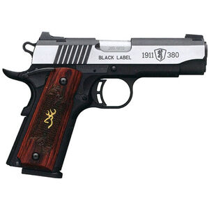 "Browning Black Label Medallion Pro 1911 Semi Auto Pistol 380 ACP 3.62"" Barrel 8 Rounds Rosewood Grips Night Sights Black/Stainless Steel"