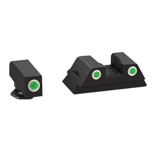 AmeriGlo Classic, Sight, For Glock 43, 3 Dot Tritium Set, Front/Rear, Green with White Outline GL-430