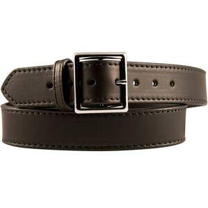 "Boston Leather Garrison Belt Stitched 44"" Brass Plain Black"