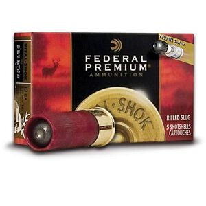 "Federal Vital-Shok 12 Gauge Ammunition Five Rounds Low Recoil 2 3/4"" 1oz. Rifled HP Slug 1,300 Feet Per Second"