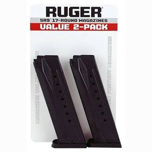 Ruger SR9/SR9C/9E Magazine 9mm Luger 17 Rounds Steel Body Polymer Base Plate Black Finish 2 Pack 90449