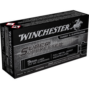 Winchester 9mm Luger Ammunition 500 Rounds Super Suppressed FMJE 147 Grains