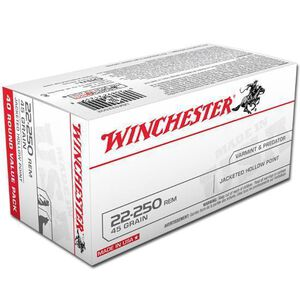 Winchester USA .22-250 Remington Ammunition 40 Rounds 45 Grain Jacketed Hollow Point 3950fps
