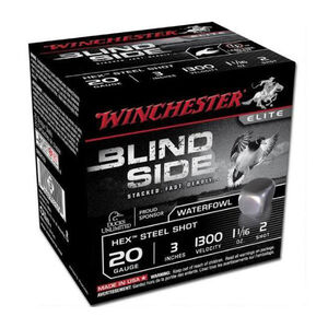 "Winchester Blind Side 20 Gauge Ammunition 25 Rounds, 3"", Hex Steel #2"