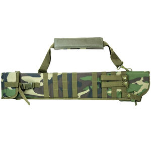 """NcSTAR Tactical Shotgun Scabbard 6.5""""x29""""-34.75"""" Adjustable Length Shoulder Strap Carry Handle MOLLE Compatible Synthetic Fabric Woodland Camo"""