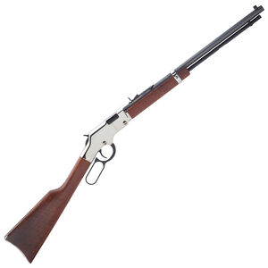 """Henry Silver Boy Lever Action Rifle .22 WMR 20"""" Barrel 12 Rounds American Walnut Stock Silver Receiver H004SM"""