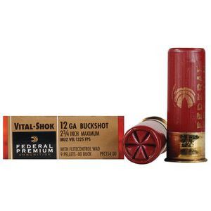 "Federal Vital-Shok 12 Gauge Ammunition 5 Rounds 2.75"" 9 Pellets 00 Buck 1,325 Feet Per Second"