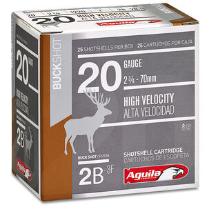 "Aguila High Velocity Buckshot 20 Gauge #2 Buck Lead Shot, 2-3/4"",1 Ounce, 1220 fps, 25 Round Box, 1C2002BA"