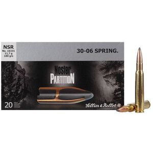 Ammo .30-06 Springfield S&B 180 Grain Nosler Partition SP Bullet 2572 fps 20 Rounds V340282U