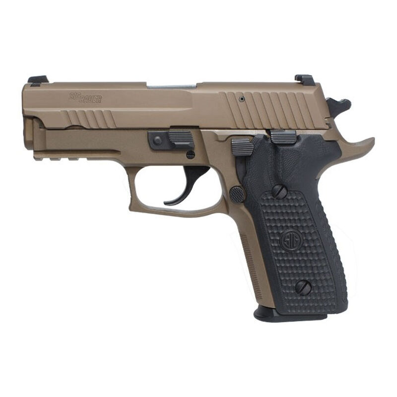 "SIG Sauer P229 Emperor Scorpion Semi Auto Pistol 9mm Luger 3.9"" Barrel 15 Rounds SIGLite Night Sights SIG Rail Black G10 Grips Stainless Steel Slide/Alloy Frame PVD FDE Finish"