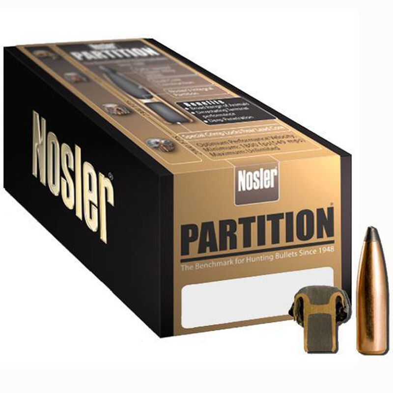 "Nolser .270 Caliber .277"" Diameter 130 Grain Soft Point Partition Rifle Bullets 50 Count 16322"