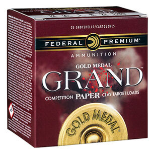 "Federal Gold Medal Grand Paper 12 Gauge Ammunition 25 Rounds 2-3/4"" #8 Size 1-1/8oz Lead Shot 1235fps"