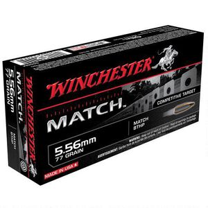 Winchester Match 5.56 NATO Ammunition 20 Rounds, BTHP, 77 Grains