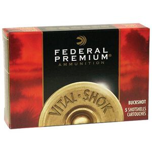 "Federal 20 Gauge Ammunition 5 Rounds 2.75"" #3 Buck Vital-Shok Copper Plated 20 Pellets"
